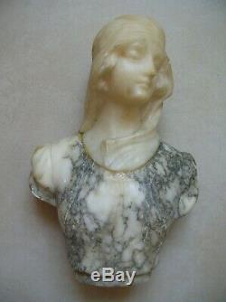 Ancien buste de femme en marbre et albâtre de 25 cm Art Déco Art Nouveau 20ème