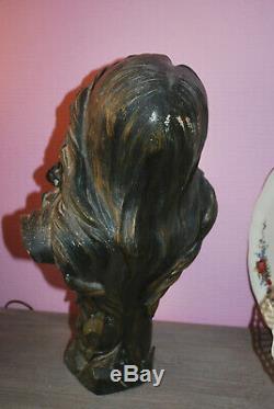 Ancien buste signé femme terre cuite Art Nouveau