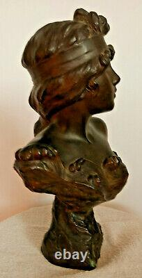 Ancien sculpture régule NYMPHE femme E. VILLANIS 32 cm 3 kg art nouveau 1900