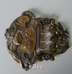 Ancienne Boucle De Ceinture Art Nouveau XIX Décor Femme Hirondelles floral