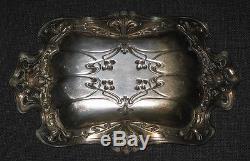 Ancienne Coupe Plat Corbeille Art Nouveau en métal argent Vide Poche Femme