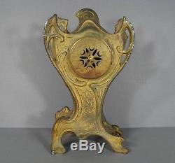Ancienne Pendule Style Art Nouveau Décor Femme Fleur Epoque 1900
