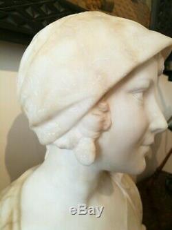 Ancienne Sculpture Buste De Femme Albatre Art Nouveau Signé Saccardi