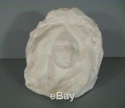 Ancienne Sculpture En Marbre Visage Femme Fleur Style Art Nouveau Epoque 1900