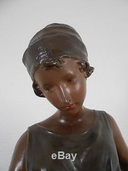 Ancienne Statue Terre Cuite Polychrome Art Nouveau 1900 Femme A La Cruche XIX Em