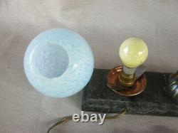 Ancienne lampe veilleuse socle marbre femme baigneuse art nouveau 1900