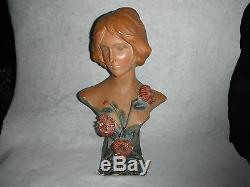Ancienne statue Buste de Femme Art Nouveau CHRYSANTHEMES 48 cm