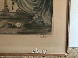 André Lithographie eau-forte estampe originale signé femme élégante Icart