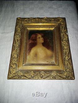 Angelo Asti Portrait Huile Femme Nue Art Nouveau