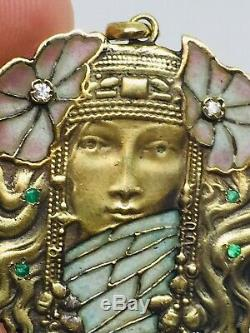 Antique 14k or Jaune Art Nouveau Femme Plique A Jour Diamant & Émeraude