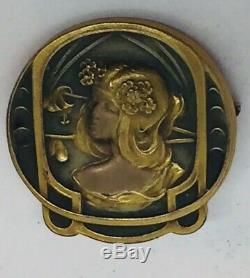 Antique Art Nouveau or Jaune Rempli Femme Montre Broche