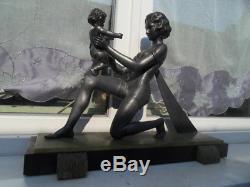 Antique Statue art nouveau deco Femme et enfant bébé signé by Geo Maxim