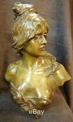 Anton NELSON Bronze buste Femme Art Nouveau H 39cm Cachet fondeur GOLDCHEIDER. 75