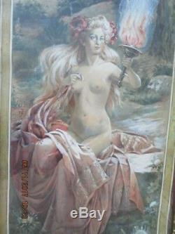 Aquarelle J . Simon Le feu femme au flambeau art nouveau chardon pavot
