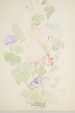 Aquarelle originale fin XIX° signée ROEDEL Volubilis Art Nouveau Femme-Fleurs