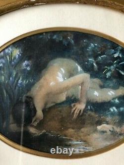 Aquarelle vers 1900 femme a la source art nouveau femme nue