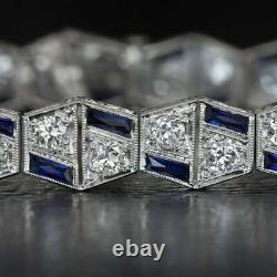 Art Déco 8.00 CT Diamant Saphir Vintage Bracelet Femme 14K Blanc or Sur