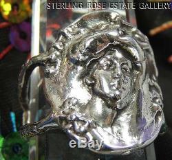 Art Nouveau 3 D Élégant Femme Argent Sterling 0.925 de Valeur Bague Taille 5.5