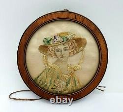Art Nouveau Ancienne Miniature Portrait de Femme Brodé soie, Cadre Marqueté