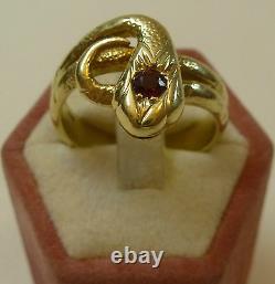 Art Nouveau Anneau de Serpent Bague pour Femme Or 585 Usiné Rubis Anneau Um 1910