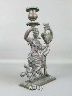 Art Nouveau Antique Statue Femme Bronze avec Porte Bougie Pendule XIX Seconde