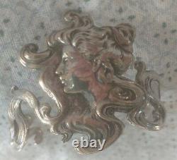 Art Nouveau Argent Bracelet Profil Femme Relief