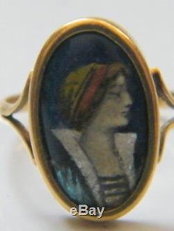 Art Nouveau-Bague émailléeFemme or 18k tête d'aigle, signé Issanchou Limoges
