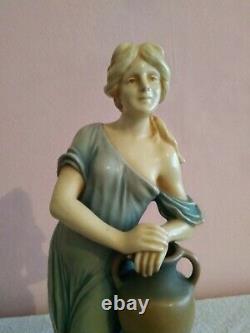 Art Nouveau Bernard Bloch Figurine Statuette Céramique femme porteuse d'eau
