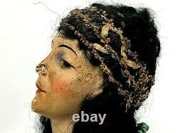 Art Nouveau Buste de Mode Vers 1900 Plâtre Polychrome Jeune Femme