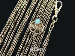 Art Nouveau Femmes Chaîne de Montre Double Grande Opale Perles en Forme