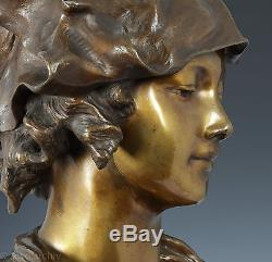 Art Nouveau Porträtbüste une Jeune Femme Bronze Multicolore Patiné Env. 1890