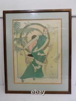 Art Nouveau Tableau Turquoise Femme Artist Par Mr. Blackwell Lithographie 20. JHD