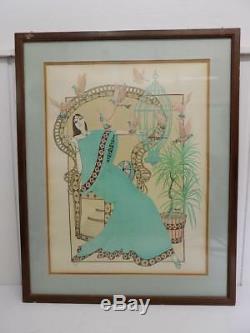 Art Nouveau Tableau Turquoise Femme par Mr. Blackwell Lithographie Artist 20. JHD
