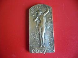 Art déco / Art Nouveau RARE Plaque-Médaille Femme Nue Par Coudray