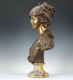 Art nouveau Buste une jeune Femme Bronze multicolore patiné Env. 1890