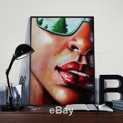 Art nouveau portrait femme tableau peinture acrylique sur toile signée
