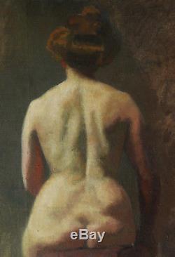 Attribué Auguste GUÉNOT sculpteur Toulouse tableau nu femme nue modèle atelier