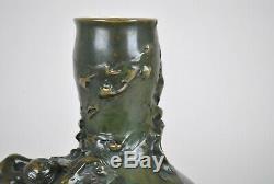 Auguste Ledru, Vase En Bronze à La Femme Nue, Art Nouveau, Fin XIXème Siècle