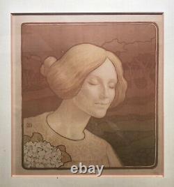 BERTHON Paul Lithographie Portrait Femme Art Nouveau Mucha Grasset Estampe 1900