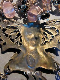 BIJOU de THEATRE ANCIEN COLLIER Buste de Femme ART NOUVEAU & Perles MELON Rose