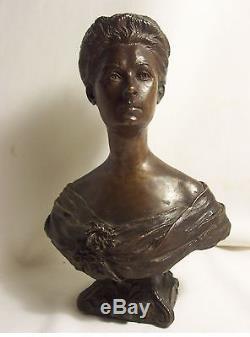 BRONZE Domenico MASTROIANNI 1876-1962 buste FEMME art nouveau 1902 PARIS signé