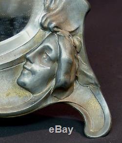 B 1900 art nouveau très beau miroir signé à poser 45cm cadre étain femme fleur