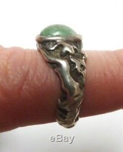 Bague chevalière en ARGENT massif + pierre verte Femme nue Art nouveau