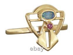 Bague en Or 750 Avec Opale Et Rubis Art Nouveau Conception Opalring pour Femme