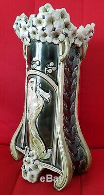 Barbotine De Bruyn Art Nouveau Femme nue Grand vase 30 cm Style Lalique