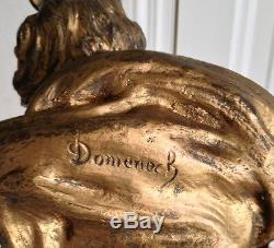 Beau buste femme bronze Art nouveau signé Luis DOMENECH (1873-)
