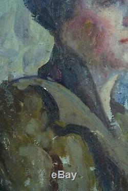 Beau tableau ancien Portrait de Femme fond bleu N°4 atelier art nouveau 1900