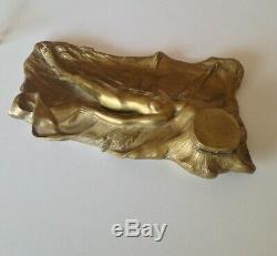 Bel Encrier Bronze Art nouveau Femme Nue signé AP Upiac