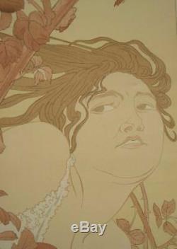 Belle Affiche Originale Art Nouveau Femme Dans Les Ronces Par Henry Detouche