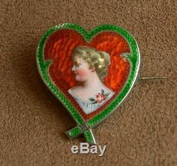 Belle Broche Ancienne En Argent Emaillé Forme Coeur Decor Femme Art Nouveau 1900